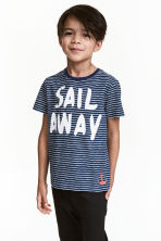 Printed T-shirt - Dark blue/Striped - Kids | H&M CN 1