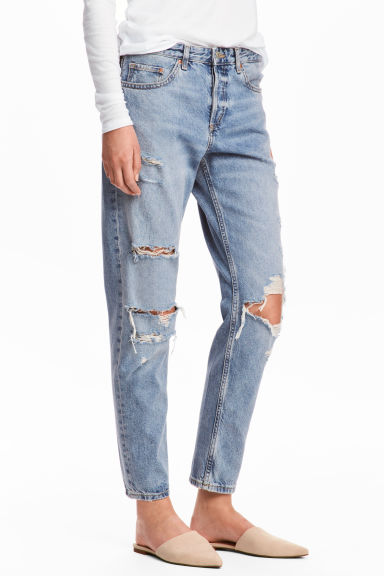 Boyfriend Low Ripped Jeans - Светло-голубой деним/Trashed - Женщины | H&M RU 1