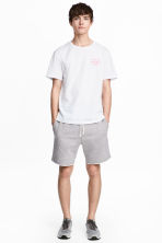 Knee-length sweatshirt shorts - Grey marl - Men | H&M 1