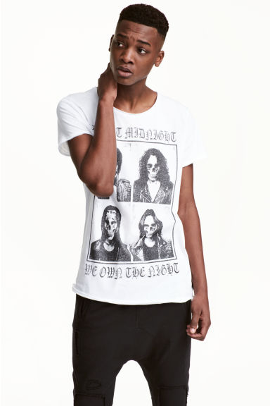 Printed T-shirt - White/Skull - Men | H&M CN 1