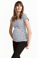 MAMA汗布上衣 - White/Dark blue/Striped - Ladies | H&M CN 1