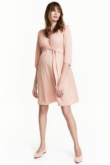 MAMA V-neck dress - Powder pink - Ladies | H&M CN 1