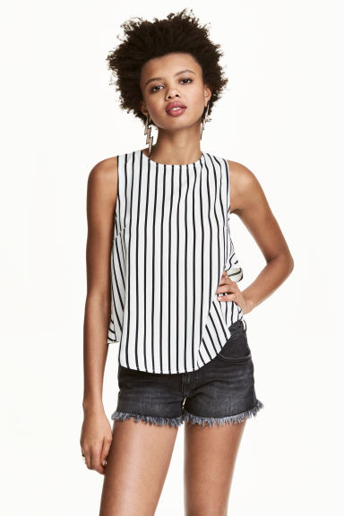 Sleeveless blouse - White/Black striped - Ladies | H&M CN 1
