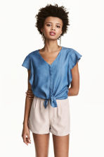 Lyocell blouse - Denim blue - Ladies | H&M CN 1