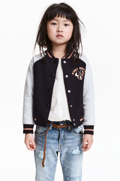 Cotton baseball jacket - Black/Minnie Mouse - Kids | H&M CN 1