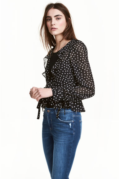 Frilled blouse - Black/Spotted - Ladies | H&M CN 1