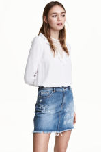 Blouse with a lace yoke - White - Ladies | H&M GB 1