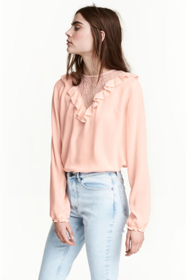 Blouse with a lace yoke - Powder pink - Ladies | H&M 1