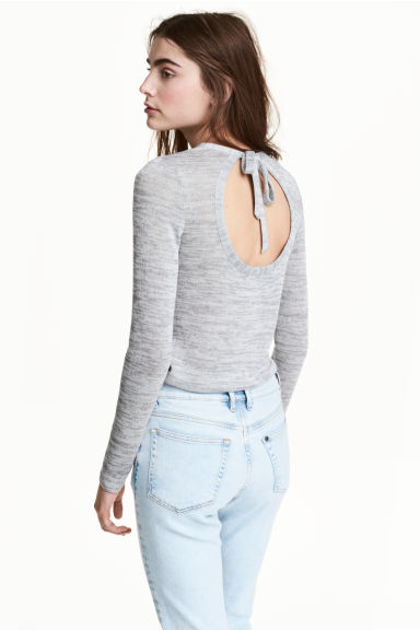 Fine-knit jumper - Grey marl - Ladies | H&M CN 1