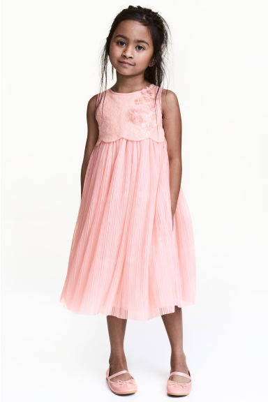 Tulle dress with sequins - Light pink - Kids | H&M CN 1