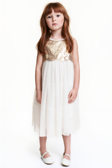 Tulle dress with sequins - Natural white - Kids | H&M CN 1