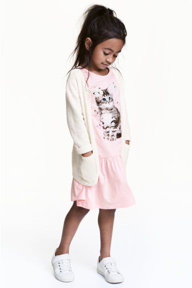Jersey dress - Light pink/Cat - Kids | H&M CN 1