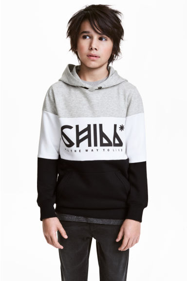 Printed hooded top - Black/Grey -  | H&M 1