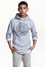 Printed hooded top - Blue marl - Kids | H&M 1