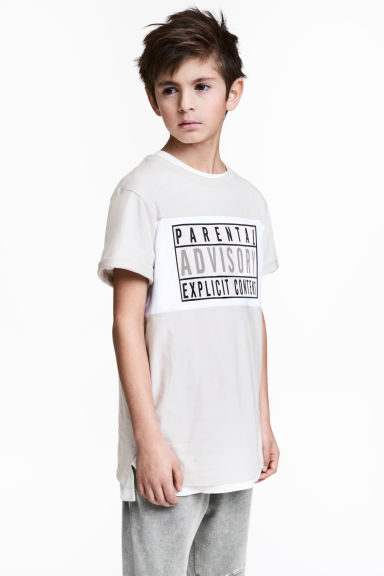 Printed T-shirt - Light beige/Parental Advisory - Kids | H&M 1