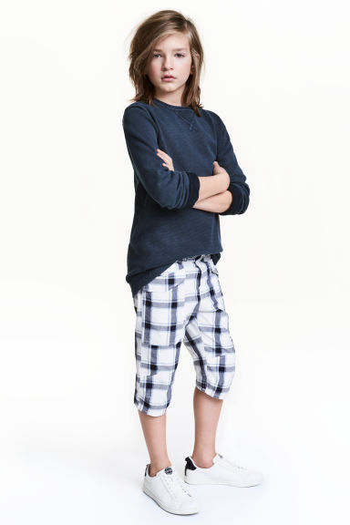 過膝短褲 - White/Checked -  | H&M 1