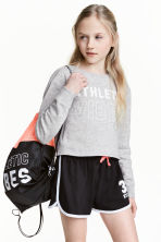 Cropped sports top - Grey marl - Kids | H&M CN 1