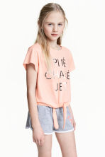Tie-front top - Powder pink -  | H&M 1