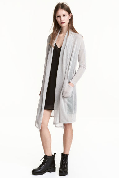 Fine-knit cardigan - Light grey - Ladies | H&M 1