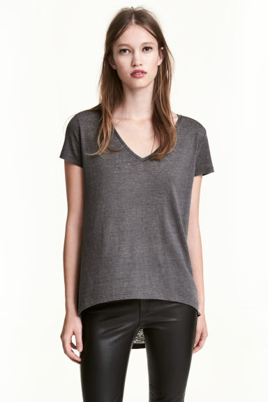 Top in jersey con scollo a V - Grigio scuro - DONNA | H&M IT 1