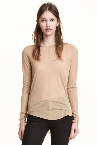 Top in a lyocell blend - Beige - Ladies | H&M