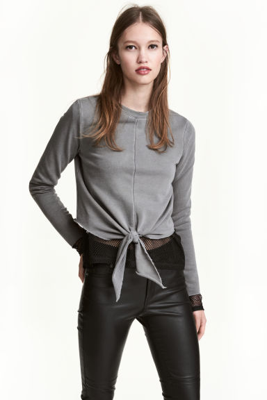 Tie-front sweatshirt - Grey - Ladies | H&M CN 1