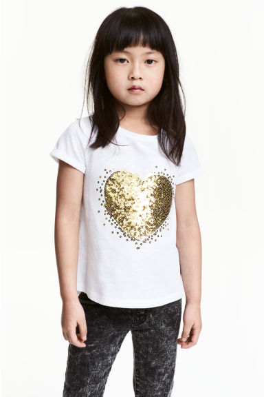 Short-sleeved top - White/Heart -  | H&M CN 1