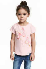 Short-sleeved top - Light pink/Butterflies -  | H&M 1