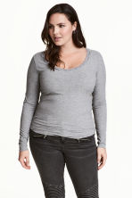H&M+ Ribbed top - Grey marl - Ladies | H&M CN 1