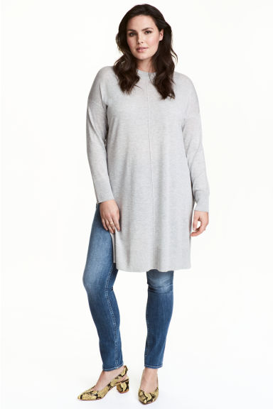 H&M+ Knitted tunic - Light grey marl - Ladies | H&M 1