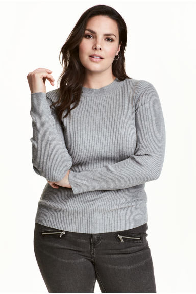 H&M+ Ribbed jumper - Grey marl - Ladies | H&M 1