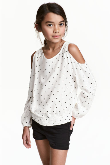 Cold shoulder blouse - White/Stars - Kids | H&M CN 1