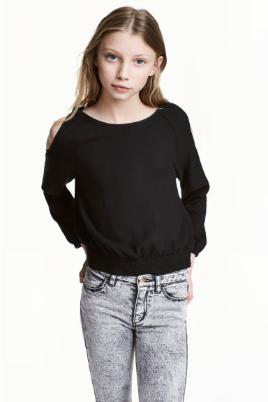 Cold shoulder blouse - Black - Kids | H&M 1