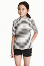 Ribbed top - White/Black striped -  | H&M CN 1