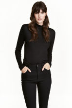 Fine-knit turtleneck top - Black - Ladies | H&M 1