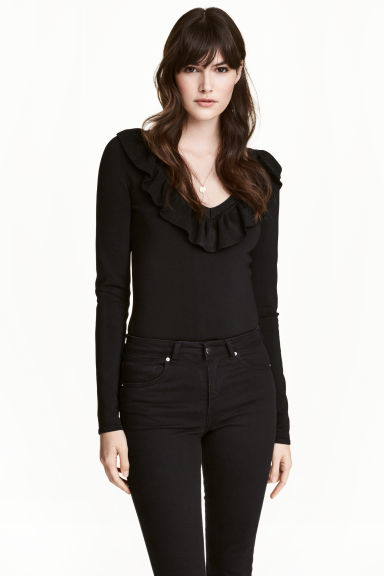 V-neck jumper - Black - Ladies | H&M 1