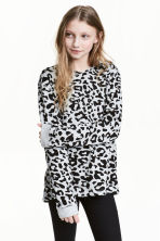 Hooded top - Grey/Leopard print - Kids | H&M CN 1