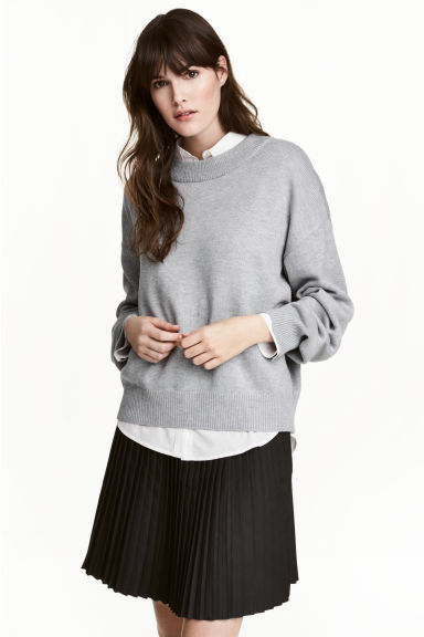 Knitted jumper - Grey marl -  | H&M CN