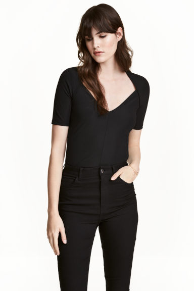 Top con scollo a V - Nero - DONNA | H&M IT 1