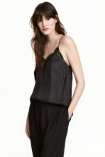 V-neck satin strappy top - Black - Ladies | H&M 1