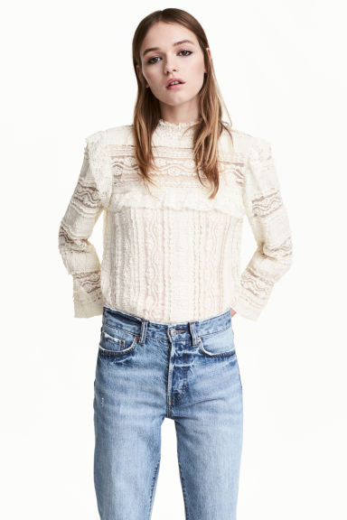 Frilled lace blouse - White - Ladies | H&M CN 1