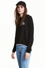 Fine-knit hooded jumper - Black - Ladies | H&M CN 1