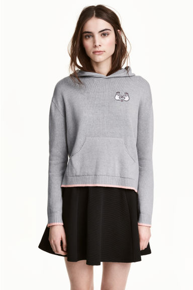 Fine-knit hooded jumper - Grey - Ladies | H&M CN 1