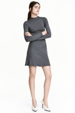 Ribbed jersey dress - Dark grey marl - Ladies | H&M CN 1