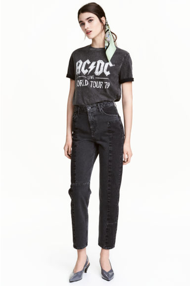 Straight High Patchwork Jeans Model