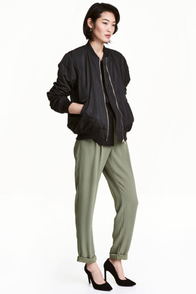 Wide trousers - Khaki green - Ladies | H&M 1