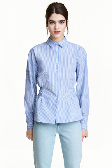 Cotton blouse - Blue/White/Striped - Ladies | H&M