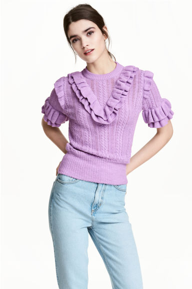 Textured-knit jumper - Purple marl - Ladies | H&M CA