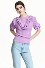 Textured-knit jumper - Purple marl - Ladies | H&M 1