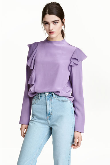 Frilled crêpe blouse - Purple - Ladies | H&M 1